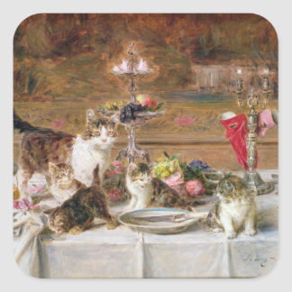 宴会、19世紀の子ネコ スクエアシール