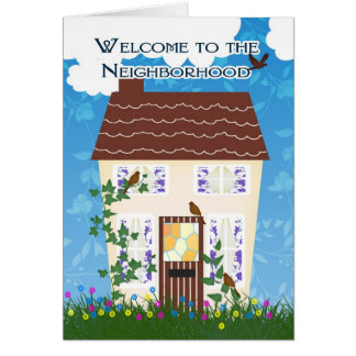 家および花が付いている近隣への歓迎 カード
