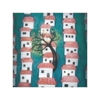 家が付いている木 キャンバスプリント