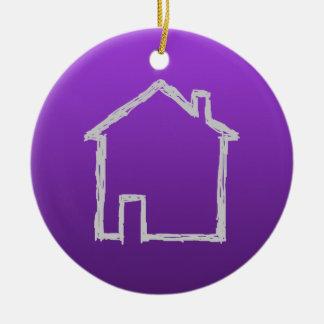 家のスケッチ。 灰色および紫色 セラミックオーナメント