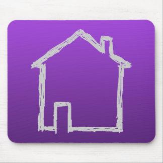 家のスケッチ。 灰色および紫色 マウスパッド