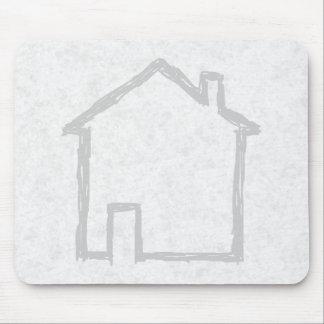 家のスケッチ。 灰色 マウスパッド