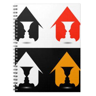 家の中の2つの顔から作成されるつぼの型枠 ノートブック