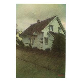 家の写真のスケッチ ウッドウォールアート