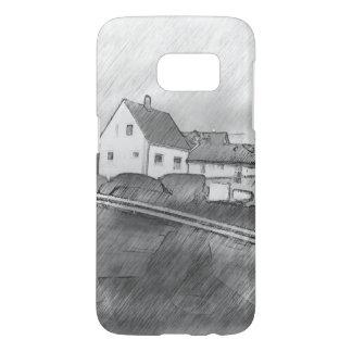 家の写真のスケッチ SAMSUNG GALAXY S7 ケース