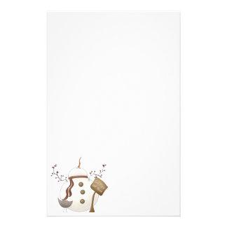 家の冬の雪だるまのデザインのようなSnoの場所 便箋