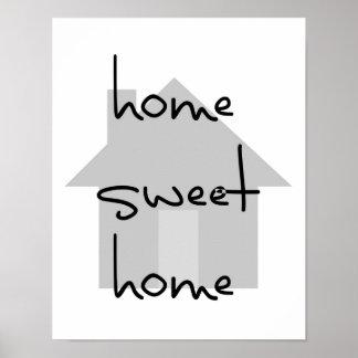 家の甘い家のモダンな白黒の灰色のシンプル ポスター
