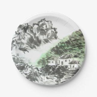 家の甘い家の中国のな山の景色のプレート ペーパープレート