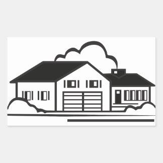 家の輪郭 長方形シール