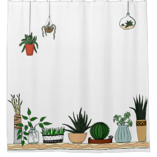 家の鉢植えな植物の落書きの芸術 シャワーカーテン