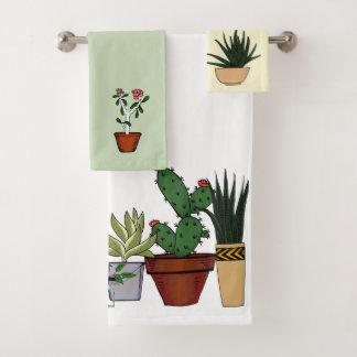 家の鉢植えな植物の落書きの芸術 バスタオルセット