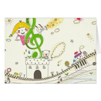家の音符と遊んでいる女の子 カード