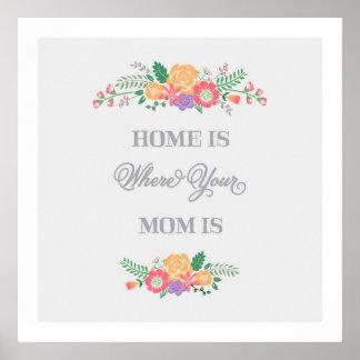 家はあなたのお母さんが|の芸術のプリントであるところです ポスター