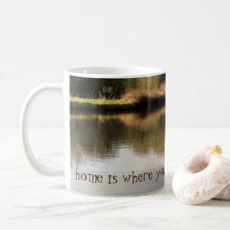 家はそれをNarrowboat運河のマグ繋ぎ止めるところです コーヒーマグカップ