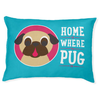 家はパグが青い犬のベッドの子鹿のパグであるところです ラージドッグベッド