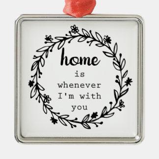 家は私があなたとある時はいつでもです メタルオーナメント