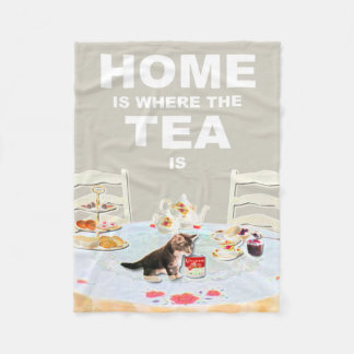 家は茶が猫のフリースのブランケットであるところです フリースブランケット