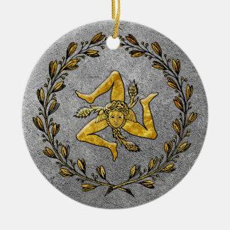 家宝のシシリアのTrinacriaの金ゴールドおよび銀 セラミックオーナメント