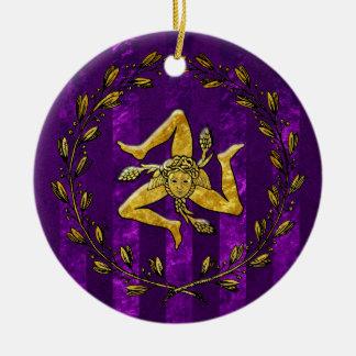 家宝のシシリアのTrinacriaの金ゴールドの紫色のストライプ セラミックオーナメント