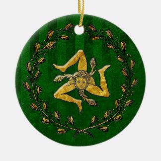 家宝のシシリアのTrinacriaの金ゴールドの緑のストライプ セラミックオーナメント