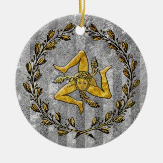 家宝のシシリアのTrinacriaの銀のストライプ セラミックオーナメント