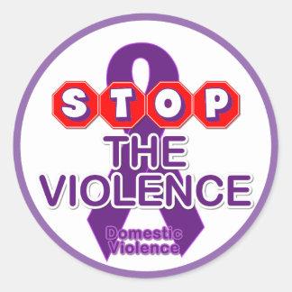 家庭内暴力の認識度のステッカー ラウンドシール