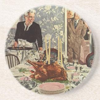 家族が付いているヴィンテージの感謝祭日のトルコの夕食 コースター