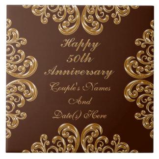 家族のための名前入りな第50記念日のギフト タイル