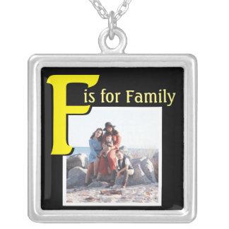 家族のためのF シルバープレートネックレス
