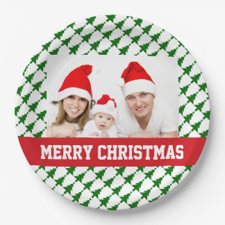家族のクリスマスの写真のパーティーのプレート ペーパープレート
