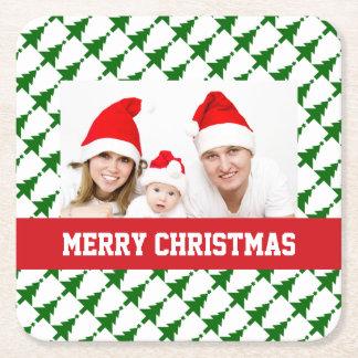 家族のクリスマスの写真 スクエアペーパーコースター