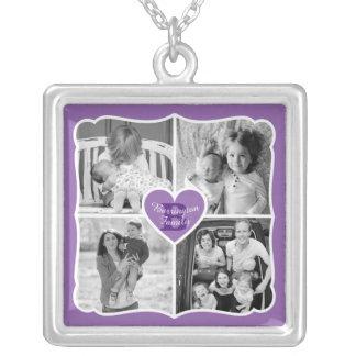 家族のバレンタインのInstagramのハートの写真の格子紫色 シルバープレートネックレス