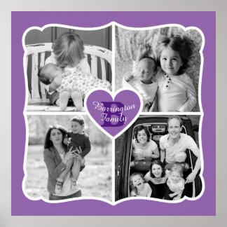 家族のバレンタインのInstagramのハートの写真の格子紫色 ポスター