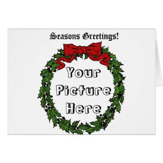 家族のポートレートのためのクリスマスのリースフレーム カード