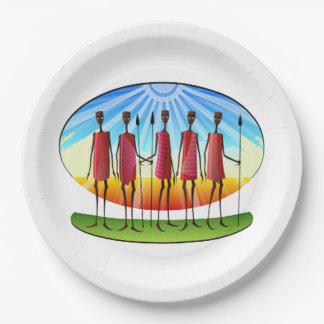 家族の単一性のKwanzaaのパーティーの紙皿 ペーパープレート