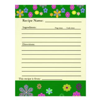家族の好みのつなぎのためのレシピのページ レターヘッド