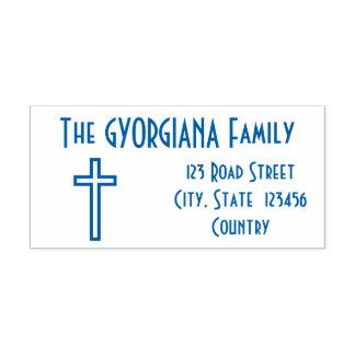 家族の姓 + 住所 + 十字のゴム印 セルフインキングスタンプ