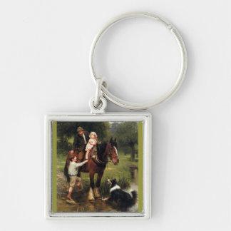 家族の子供のコリー犬の馬の男の子の女の子 キーホルダー
