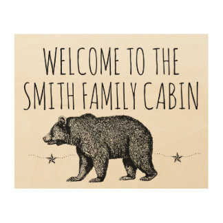 家族の小屋木芸術への歓迎 ウッドウォールアート