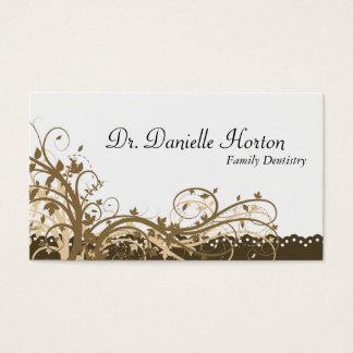 家族の歯科医の名刺-金ゴールドのエレガントな花柄 名刺