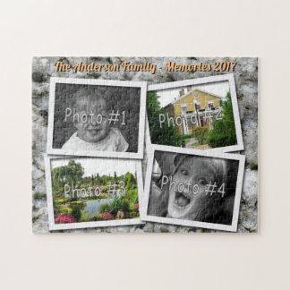 家族の記憶は花こう岩の4つのxのカスタムな写真揺れます ジグソーパズル