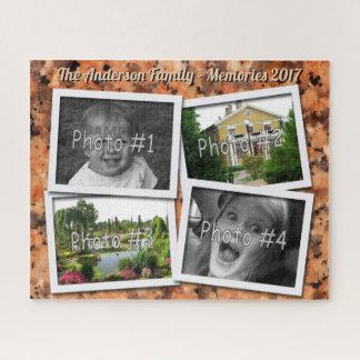 家族の記憶オレンジ石の4つのxのカスタムな写真 ジグソーパズル
