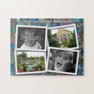 家族の記憶ガラスタイルの4つのxのカスタムな写真 ジグソーパズル