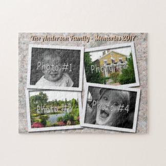 家族の記憶石の質の4つのxのカスタムな写真 ジグソーパズル