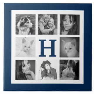 家族のInstagramの8つの写真の大きいモノグラムの濃紺 タイル