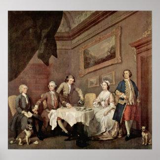 家族はポートレートウィリアム・ホガースによって家族の大またに歩きました ポスター