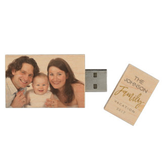 家族休暇の写真USBの親指ドライブ ウッドUSBフラッシュドライブ