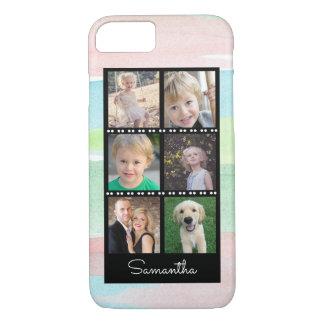 家族写真のコラージュの水彩画は縞で飾ります iPhone 8/7ケース
