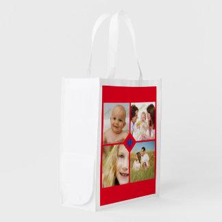 家族写真のコラージュはモノグラムをあらゆる色カスタマイズ エコバッグ