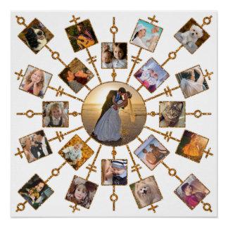 家族写真のコラージュ21の写真のかわいらしいホワイトゴールド ポスター
